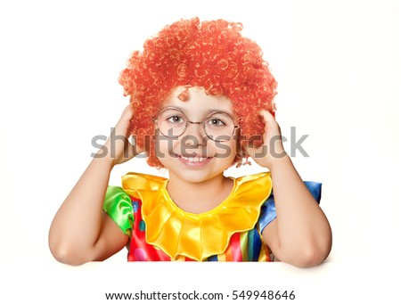 Funny girl clown on a white background