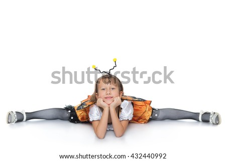 Funny girl in bee costume sitting on the twine - Isolated on white background - stock photo