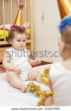 funny girl in holiday hat - stock photo
