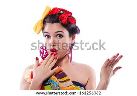 Funny girl isolated on the white background