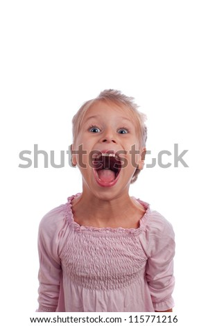 Funny girl screams - stock photo