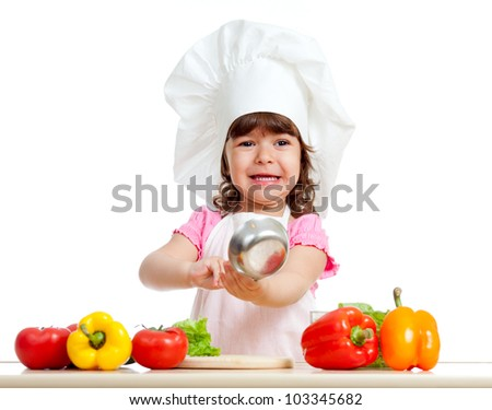 funny girl scullion with ladle and  healthy food - stock photo