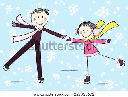 Funny girl with boy on winter background - stock photo