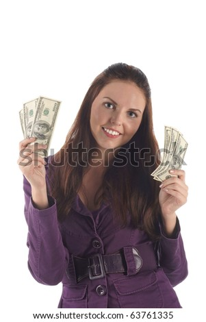Funny girl with money on white background - stock photo