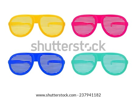 Funny glasses set isolated on white background, Extravagant party goggles. - stock photo