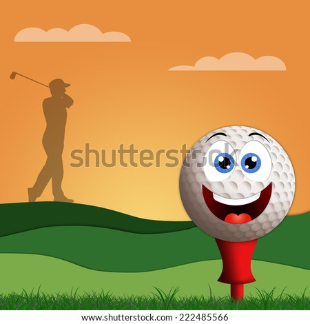 Funny golf ball on golf course - stock photo