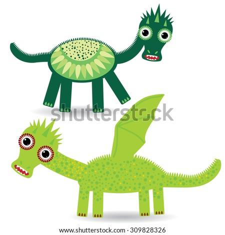 Funny green dragon on a white background.
