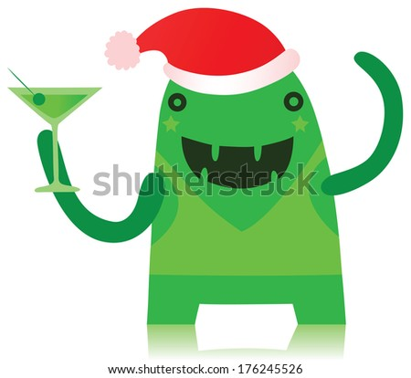 Funny Green Monster Partying in Christmas Outfit