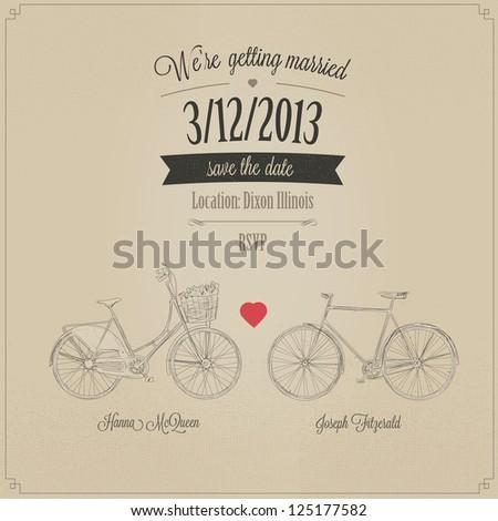Funny grunge retro wedding invitation with tandem vintage bicycles - stock photo