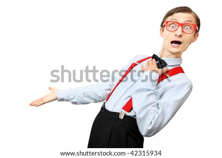 Funny guy showing your product - stock photo
