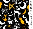 Funny halloween characters seamless pattern background. - stock vector