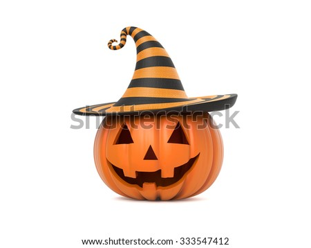 Funny Halloween pumpkin with hat on white background - stock photo