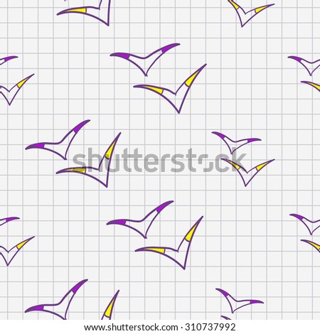 Funny hand drawn abstract birds sketch in a notebook seamless pattern. Raster copy. - stock photo