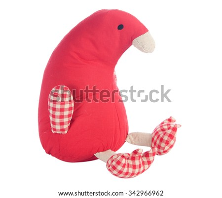 Funny handmade toy penguin isolated on white, Pattern Fabric - stock photo