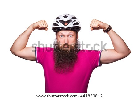 funny happy european bearded cyclist wearing helmet with pink / purple t shirt. advise people to protection. studio shot. isolated on white.