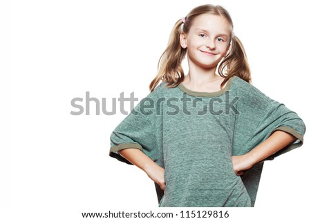 Funny happy small girl wearing over-sized t-shirt.