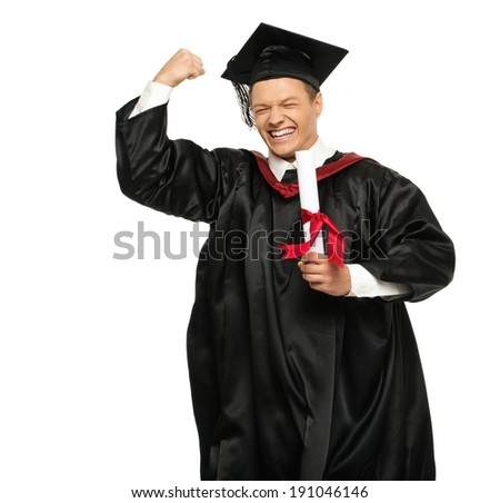 Funny happy young graduated student man isolated on white