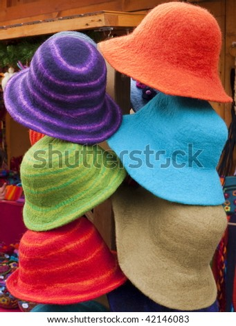 Funny hats in bright colors