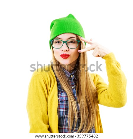 Funny Hipster Girl Going Crazy Isolated on White