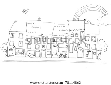 funny houses in happy city landscapes.