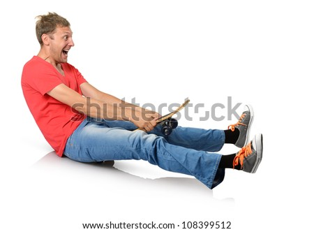 Funny humorous man with skateboard on white background - stock photo