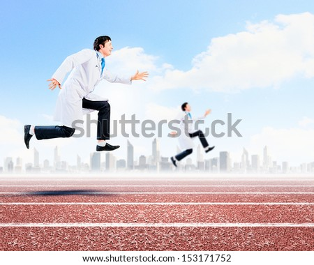 Funny image of young running doctor in white uniform - stock photo