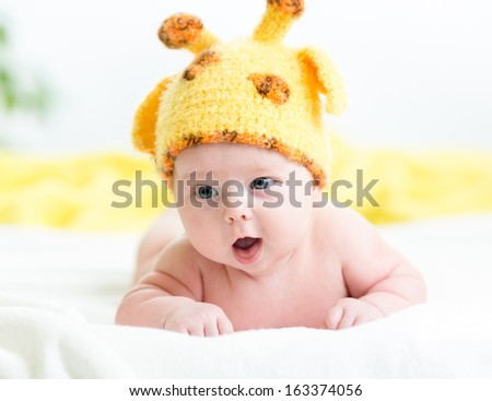 funny infant baby boy - stock photo