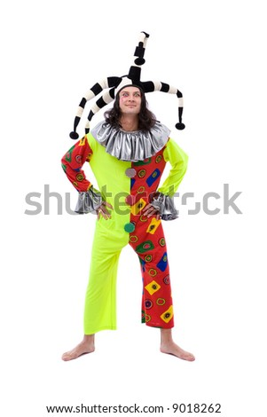 funny jester joker making a face on white background - stock photo
