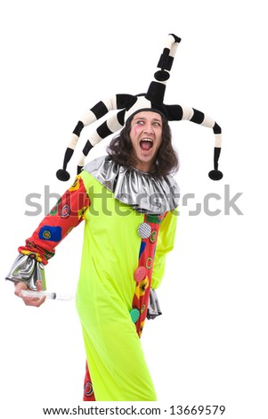 funny joker with an injection on white - stock photo
