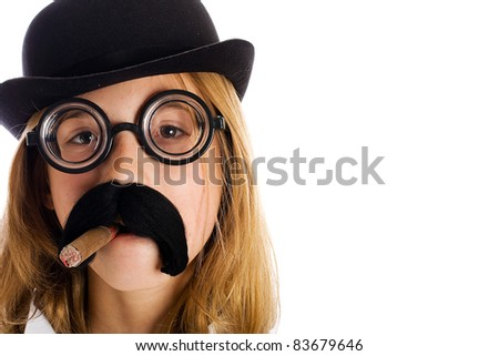 Funny kid wearing a silly costume with a fake mustache, cigar and bowler cap. - stock photo