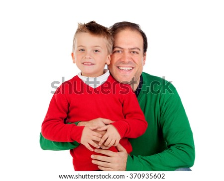 Funny kid with red jersey with his dad isolated on a white background - stock photo