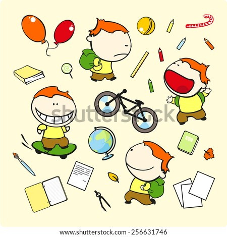 Funny kids #71 - schoolboy (raster version) - stock photo