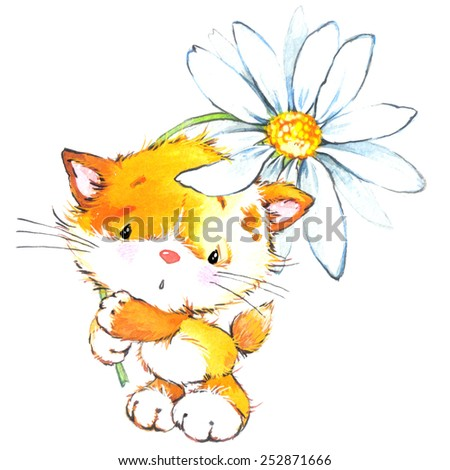 Funny kitten and flower. Decor for holiday greetings card and kids background. watercolor illustration - stock photo