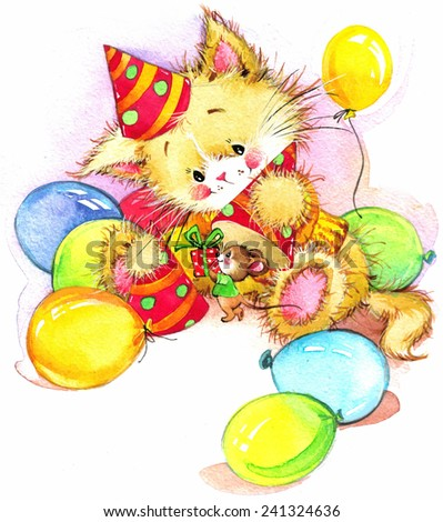 funny kitten. decor for kid Birthday background. watercolor