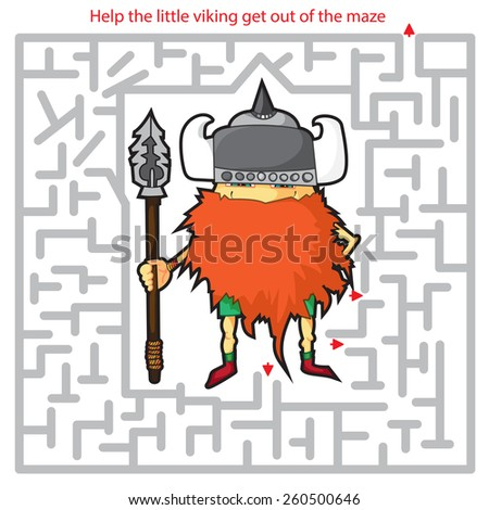 Funny labyrinth. Help the viking get out of the maze. Illustration with tangled lines. Funny cartoon character. Isolated on white background - stock photo