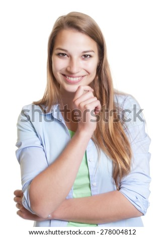 Funny laughing woman with blond her in casual clothes - stock photo