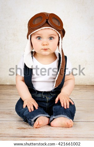 Funny little baby  boy - stock photo