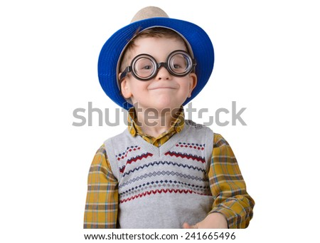 funny little boy in a hat and glasses on a white background - stock photo