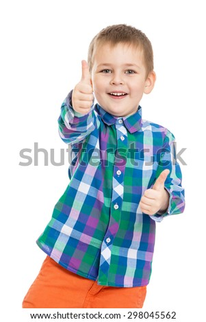 Funny little boy makes a gesture all is well , the boy has a good mood , close-up-Isolated on white - stock photo