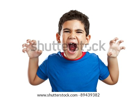 Funny little boy roaring isolated on a white background - stock photo