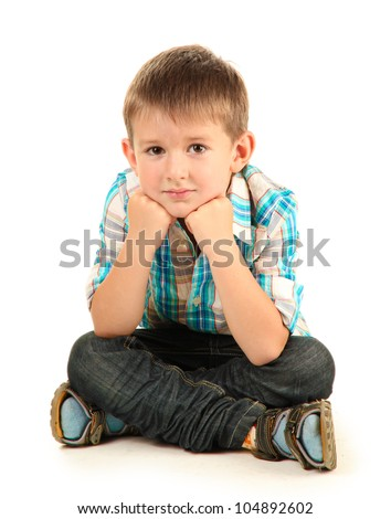 funny little boy with headphones isolated on white - stock photo