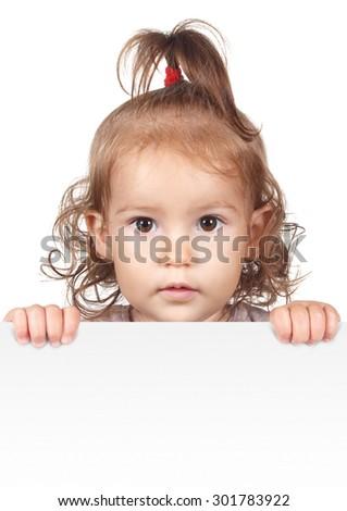 Funny little child girl hold white banner - stock photo