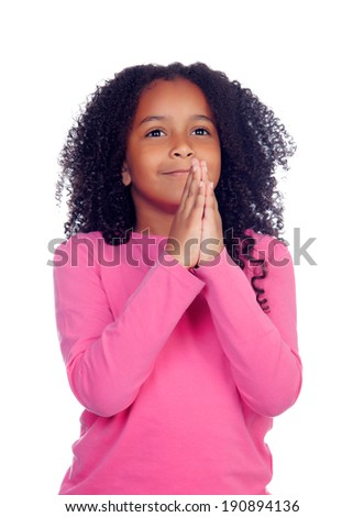 Funny little girl asking for something isolated on a white background - stock photo