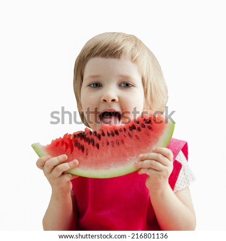 Funny little girl eating big slice of watermelon; isolated on white