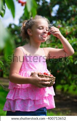 Funny little girl eating fresh picked cherry in cherry garden - stock photo