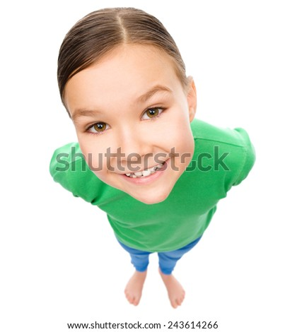Funny little girl, fisheye portrait, isolated over white - stock photo