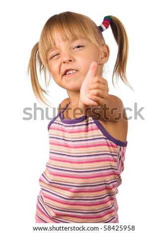 Funny little girl. Good for borders of articles or websites. Beautiful caucasian model. Isolated on white background. - stock photo