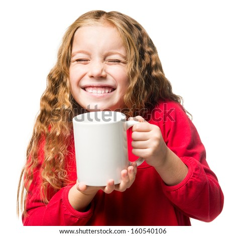 funny little girl in a white chef hat cup, isolated - stock photo