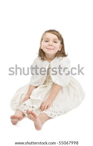 Funny little girl on white. - stock photo