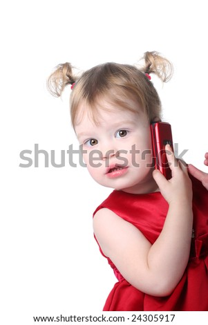funny little girl with cellular - stock photo